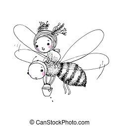 漂亮, 很少, 仙女, 蜜蜂