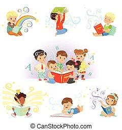 漂亮, 很少, 孩子, childrens, 鮮艷, tales, 矢量, 說明, 世界, 仙女, 閱讀, 夢想, set.