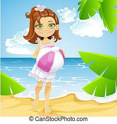 漂亮, 很少, 球, 陽光普照, 女孩, 海灘
