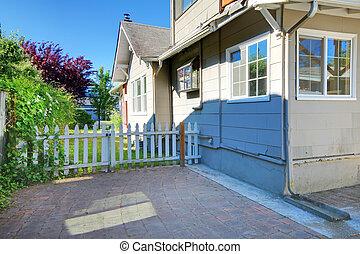 漂亮, 柵欄, 房子, 灰色, 外部, 小, 院子