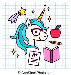 漂亮, 概念, 主題, a-plus, 紙, 射擊, 成就, 大約, 夢想, 圖象, 蘋果, 背景。, 教科書, 測試, 鉛筆, result., 柵格, 獨角獸, 卡通, 學校, 魔術, 成功, 星, 鏡片