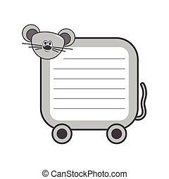 漂亮, 樣板, cartoon., 筆記, 插圖, 家庭, 老鼠, 紙, design., 矢量