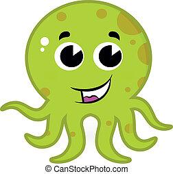 漂亮, 白色, 章魚, 綠色, 被隔离