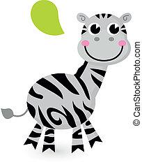 漂亮, 白色, 被隔离, 卡通, zebra