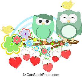 漂亮, 花, 樹, 二, 貓頭鷹, 分支, 鳥