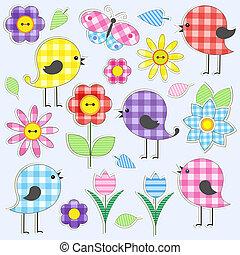漂亮, 花, 鳥