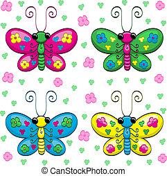 漂亮, 蝴蝶, 卡通