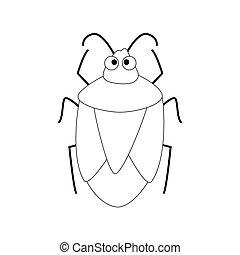 漂亮, 被隔离, 插圖, 背景。, 矢量, 甲蟲, 白色, 卡通