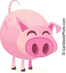 漂亮, 被隔离, 插圖, 豬, 矢量, 背景, 白色, 卡通
