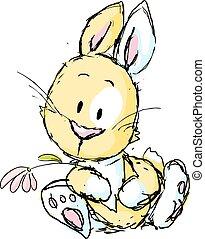 漂亮, -, 被隔离, 插圖, bunny, 矢量, 背景, 白色, 卡通