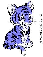 漂亮, 被隔离, 插圖, tiger, 背景。, 矢量, 白色, 卡通