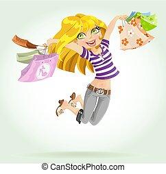 漂亮, 購物袋, shopaholic, 白膚金發碧眼的人, 女孩