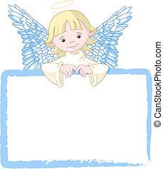 漂亮, 邀請, 天使, &, 安置卡片
