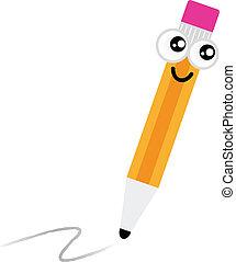 漂亮, 鉛筆, 字, 被隔离, 白色, 卡通