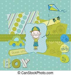 漂亮, 集合, 男孩, -, 元素, 設計, 嬰孩, 剪貼簿