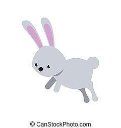 漂亮, 風格, 套間, 跳躍, 兔子, 圖象