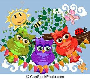 漂亮, 鮮艷, 坐, 樹, 三, 貓頭鷹, flowers., 分支, 卡通