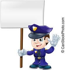 漂亮, illustrat, 人, 警察簽名