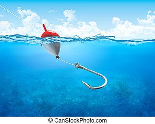 漂浮, 水下, 垂直, 鉤, 釣絲