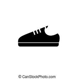 潛行, 插圖, 被隔离, 簽署, 矢量, 黑色的鞋, 背景, 圖象