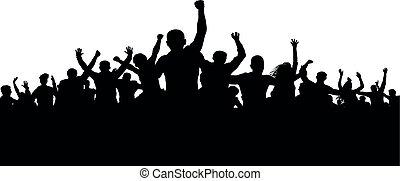激怒, 黑色半面畫像, 人群, 人們, 憤怒, protesters, 矢量, 暴民