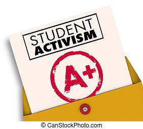 激進主義, 插圖, 意識, 學生, 社會, 報告卡片, 3d
