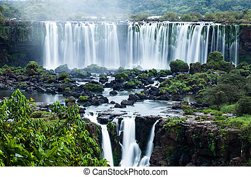 瀑布, 位於, 巴西人, 邊框, iguassu, 系列, 世界, 看法, 邊, 最大, 阿根廷, 落下