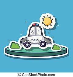 灌木, 運輸, 補丁, 汽車, 太陽, 警察