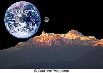 火星, 地球, 月亮