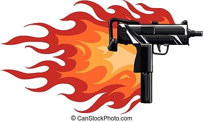 火焰, 插圖, 槍, 矢量, uzi