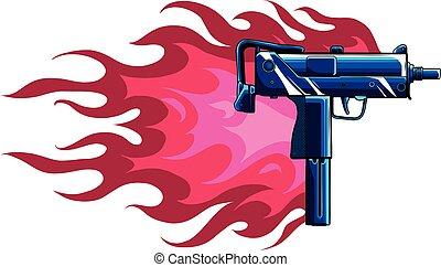 火焰, 插圖, 矢量, uzi, 槍