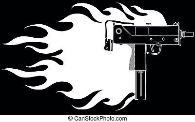 火焰, 槍, 插圖, 矢量, uzi