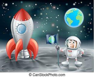 火箭, 空間, 葡萄酒, 月亮, 宇航員, 卡通