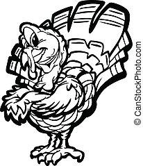 火雞, 感恩, 插圖, 矢量, 假期, 卡通, 愉快