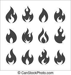 火, 矢量, 集合, 圖象