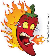 火, 胡椒, 干辣椒, 熱, 卡通