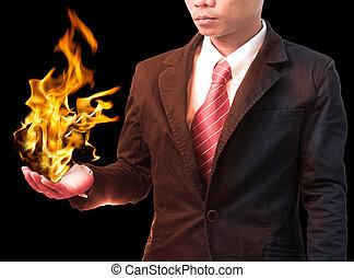 火, 藏品 手, 燃燒, 人, 事務