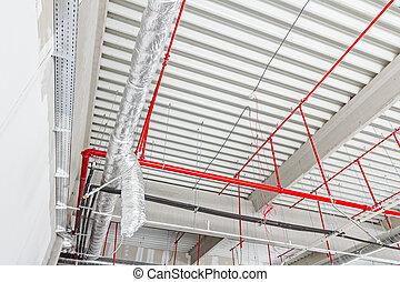 火, ceiling., 系統, 戰斗, 空氣, 安置, 限制, 靈活