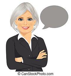 灰色, 其次, 空白, 從事工商業的女性, 武器, 站立, 年長者, 演說, 美麗, 橫渡, 氣泡