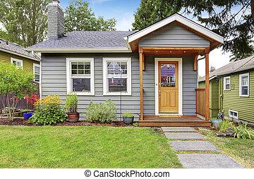 灰色, 房子, 美國人, paint., 外部, 小