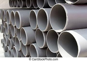 灰色, 行, 堆積, 管子, 塑料, pvc, 管子