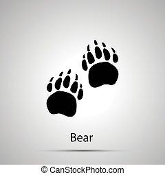 灰色, 黑色半面畫像, 留下烙印, 簡單, 熊, paws, 步驟, 黑色