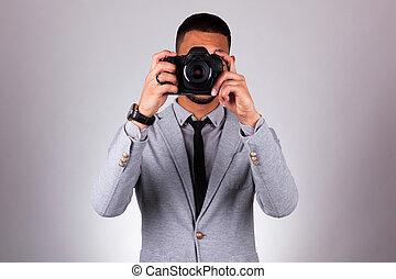灰色, dslr, 人們, 攝影師, 在上方, african, -, 美國人, 照像機, 背景, 藏品, 黑色