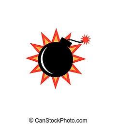 炸彈, 簡單, 插圖, 矢量, 標識語, 圖象