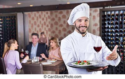 為托盤供應, 廚師, 站立, 餐館