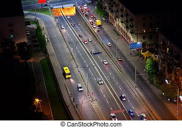 烏克蘭, 城市, 空中, kyiv, 夜晚, 看法