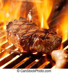 烤架, 牛排, 牛肉, flames.