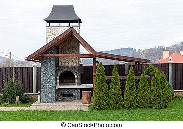 烤架, 石頭花園, 烤爐, 後院, 或者, barbeque