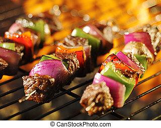 烤架, shishkabob, 烹調, 串肉扦, 燃燒, 牛排