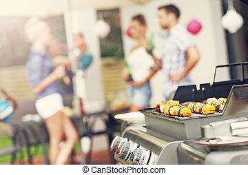 烤, 漢堡包, 花格, shashliks